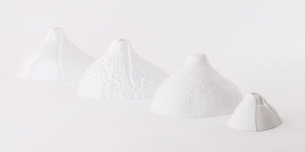 Vase soliflore porcelaine Bulbe lisse relief email brillant latelierdublanc