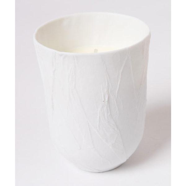 Bougie cire vegetal couvercle papier porcelaine de limoges latelierdublanc