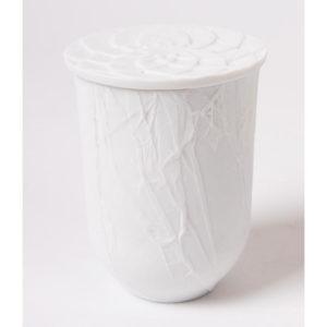 Bougie cire vegetal couvercle rosace papier porcelaine de limoges latelierdublanc
