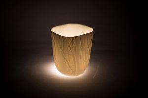 Bougie cire vegetal photophore carre papier porcelaine de limoges latelierdublanc