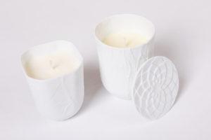 Bougie cire vegetal pot papier porcelaine de limoges latelierdublanc 1