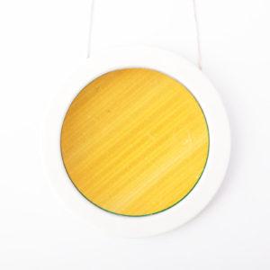 gros collier jaune or blanc gros pendentif rond 73 porcelaine marqueterie paille latelierdublanc