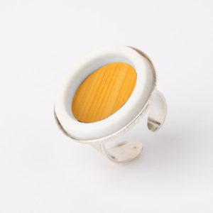 grosse bague reglable jaune porcelaine marqueterie latelierdublanc