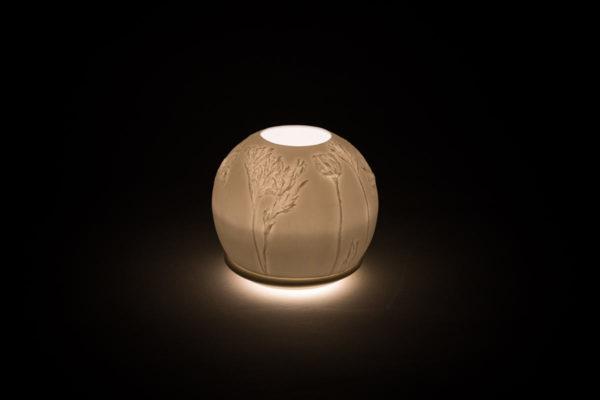 lithophanie fleur pavot photophore porcelaine de limoges l atelier du blanc