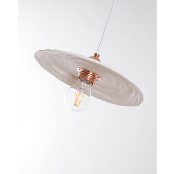 luminaire cuisine porcelaine de limoges suspension assiette plate vintage montage cuivre latelierdublanc