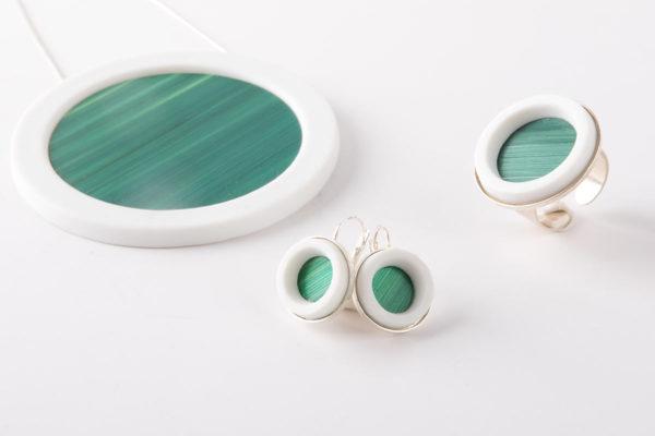 parure bijoux collier boucles oreille vert fonce latelierdublanc