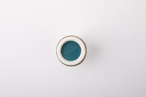 bague argent cabochon rond marqueterie de paille bleu ciel porcelaine blanche l atelier du blanc