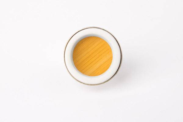 bague argent reglable cabochon rond marqueterie de paille jaune dore porcelaine blanche l atelier du blanc
