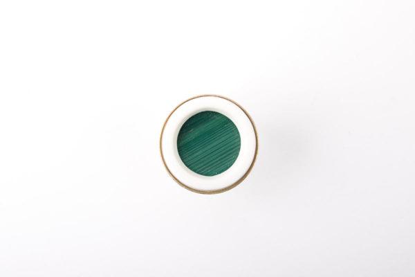 bague argent reglable cabochon rond marqueterie de paille vert porcelaine blanche l atelier du blanc